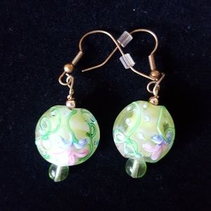 Jewelry - Glass beads/flowers bronze earring wires EUC